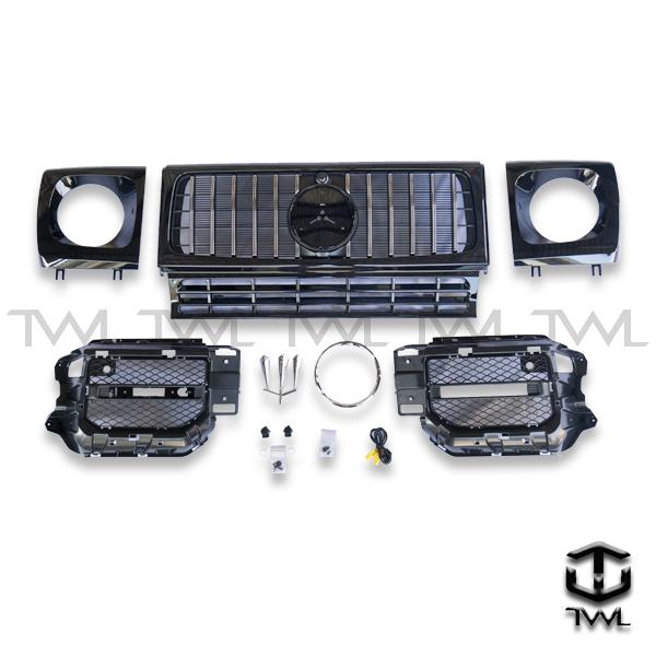 TWL-BENZ W463 AMG G63-Black grille+headlight frame+front bumper net